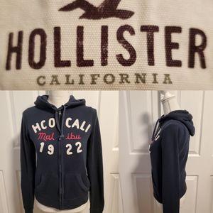 Hollister Navy zip front long sleeved hoodie